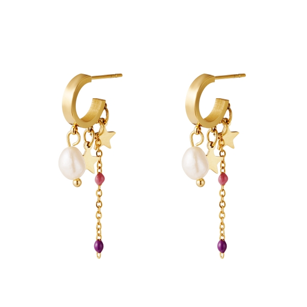 Shooting Stars and Pearls Purple and Pink Earrings