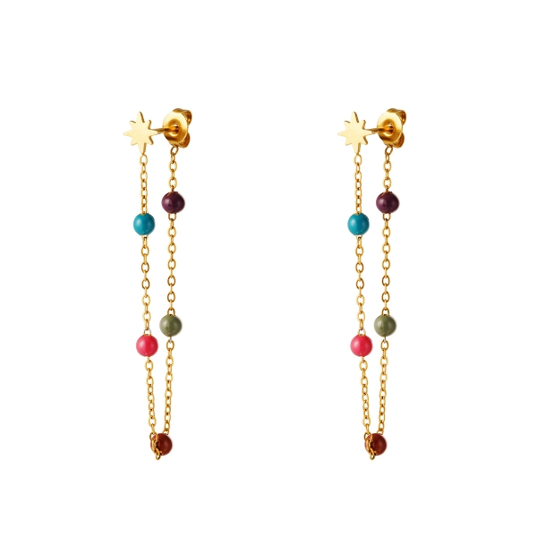 Star earring with collored balls