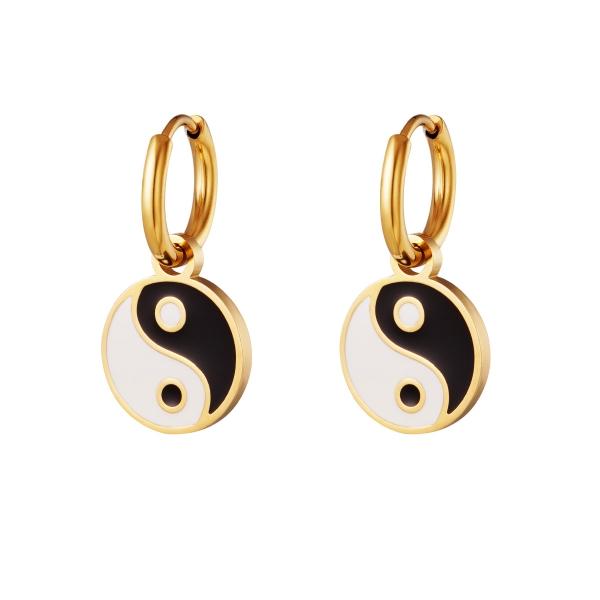 Pendientes de acero inoxidable yin yang