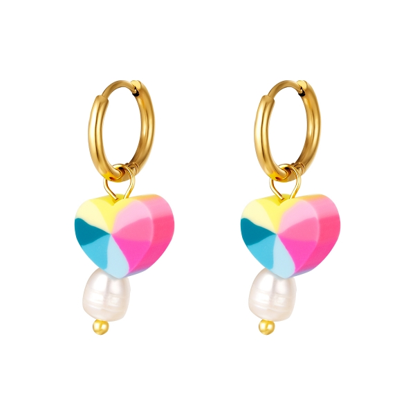 Stainless steel heart earring with pearl