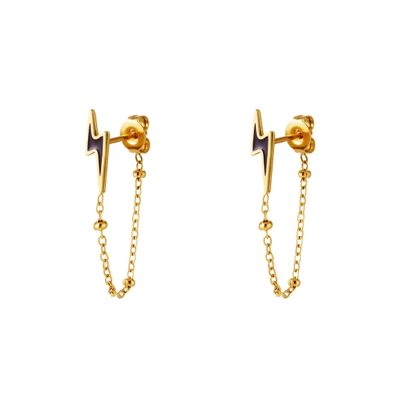 Colered Lightning Earrings with chain