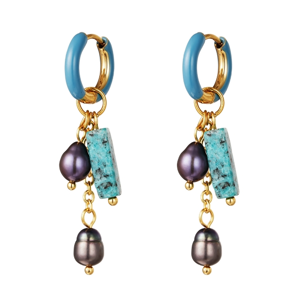 Earrings with long colorful charm