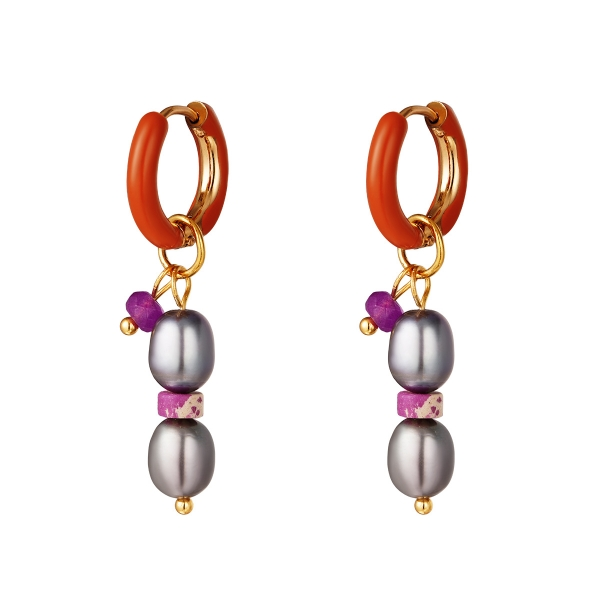 Earrings with Colored Charm Medium