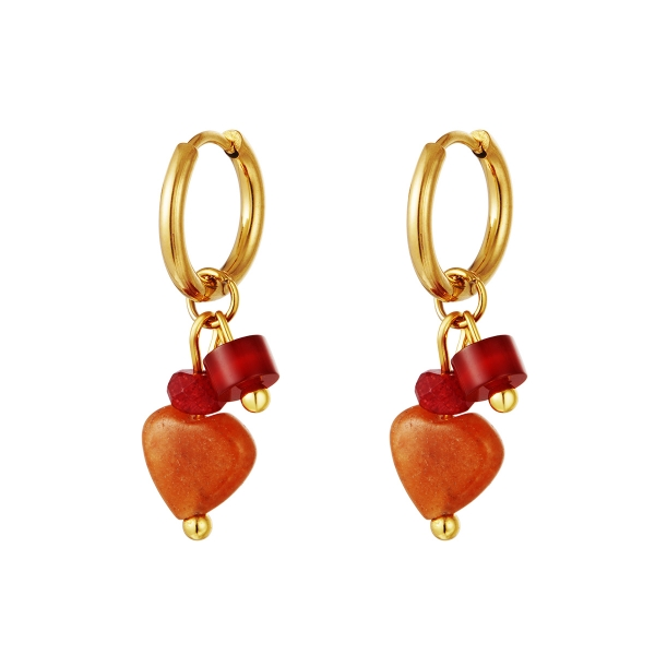 Stainless steel earring natural stones