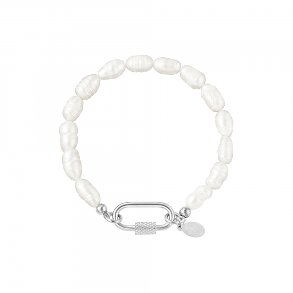 Pearl bracelet with oval closure