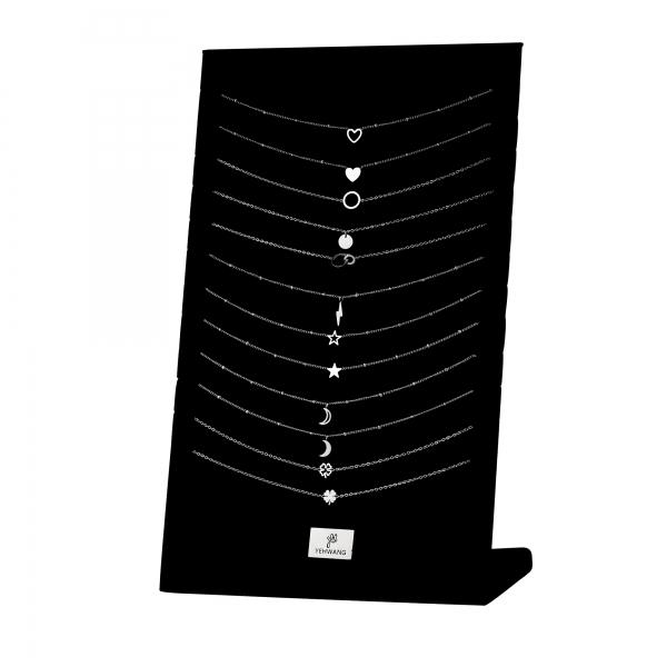 Display met 12 roestvrijstalen kettingen