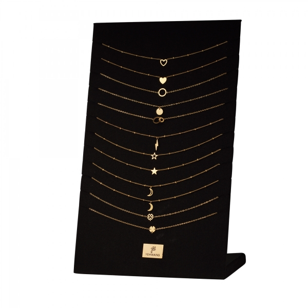 Display with 12 stainless steel necklaces