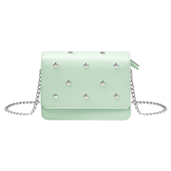 Pu bag with star studs and chain strap