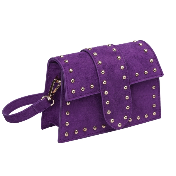Shoulder bag in suede like material with metal studs and shoulder strap
