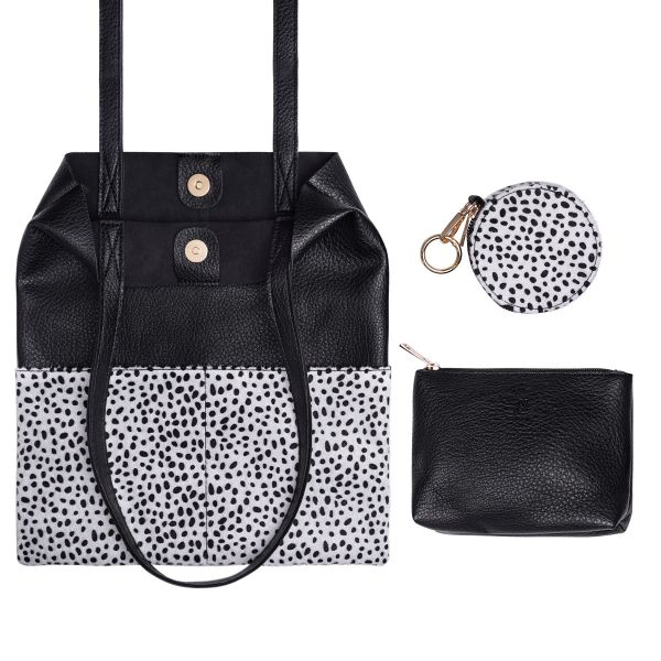 PU shopper in half panther animal print with little pouches