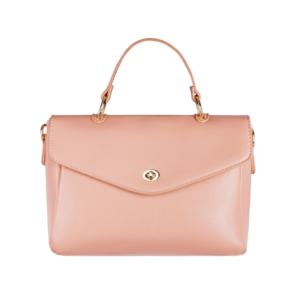 Pu faux leather bag with handle and shoulder strap and metal details