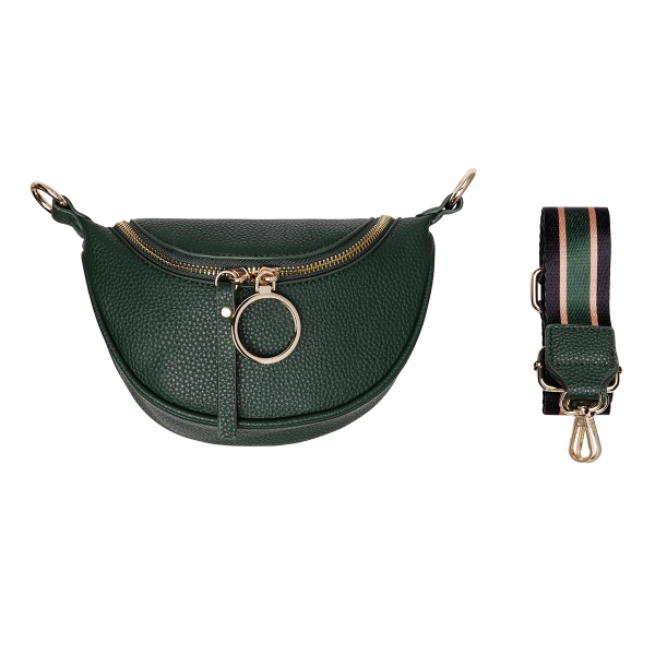 Pu shoulder bag with fabric strap