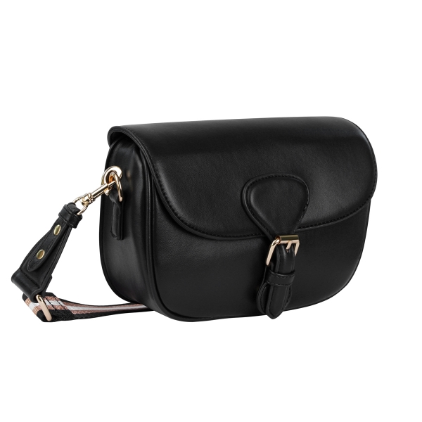 PU bag with buckle closure and striped wide strap
