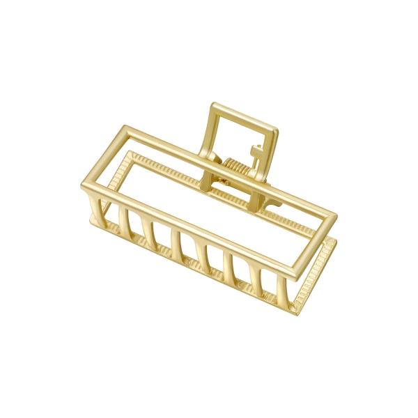 Rectangular shaped metal hair clip in gold color