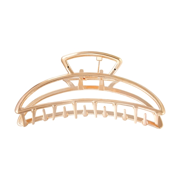 Big metal hair clip in gold color in half moon shape