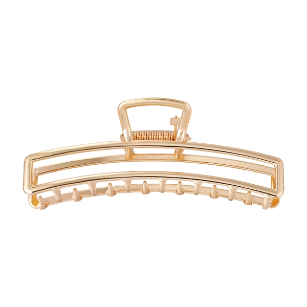 Hair clip metal rectangle gold