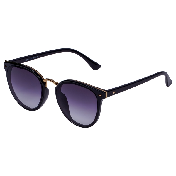 Black colored sunglasses with dark tinted glasses