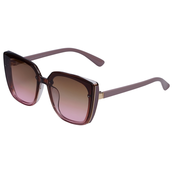 Burgundy red sunglasses with big frame and dark colored glasses