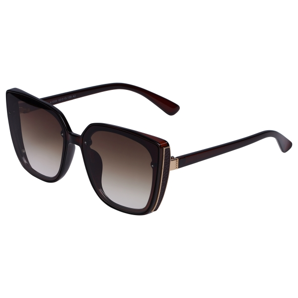 Brown sunglasses with big frame and dark colored glasses