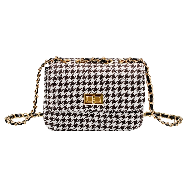 Checkered bag with metal strap and closure
