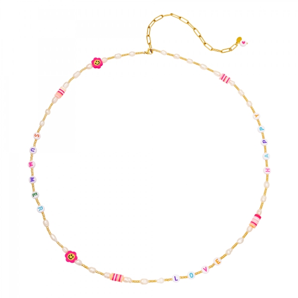 Waist chain with letter beads & pearls