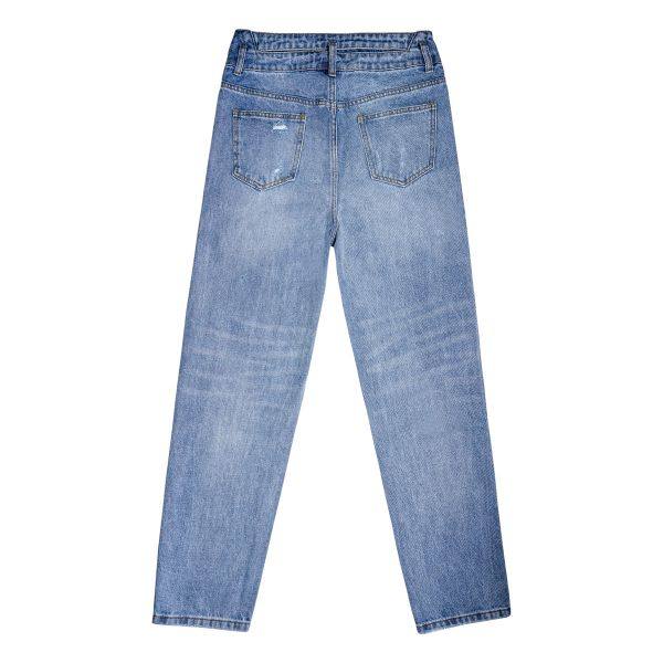 High waisted ankle length distressed jeans