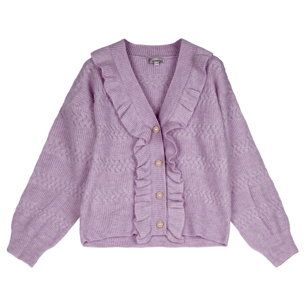 Cardigan with ruches and pearl buttons