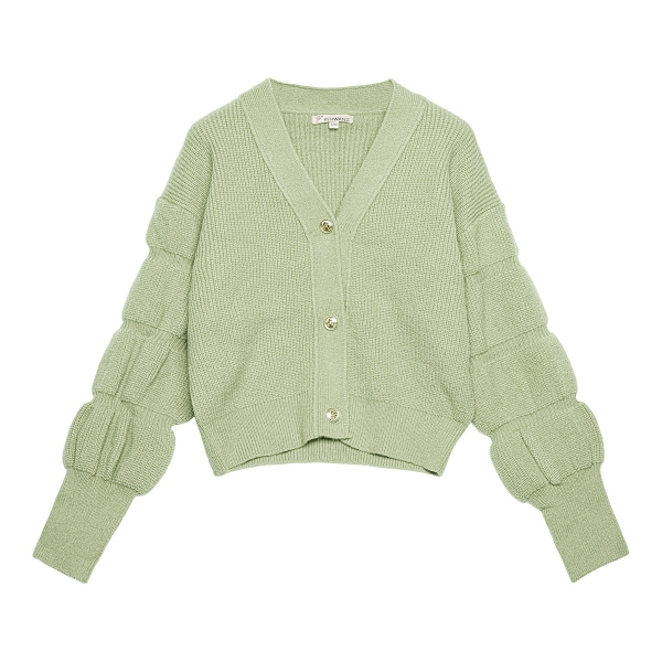 Cardigan with puff sleeves and buttons
