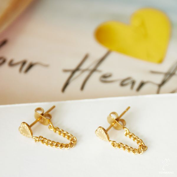 Earrings Heart and Chain