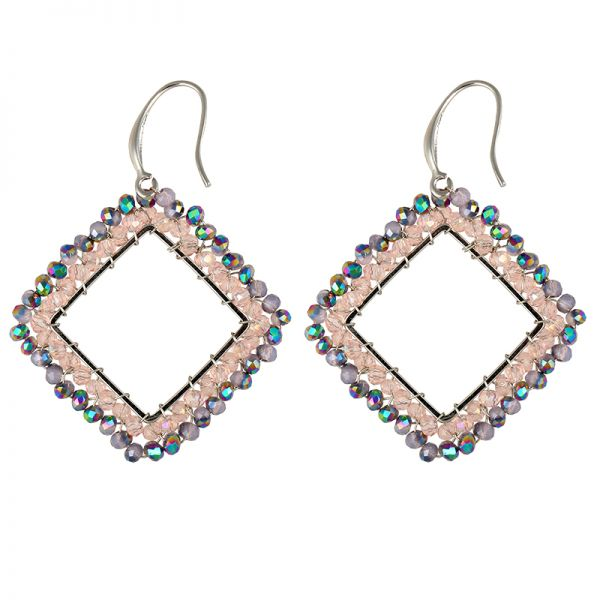 earrings small square beads