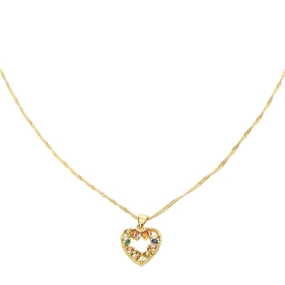 Collier Zircon Heart