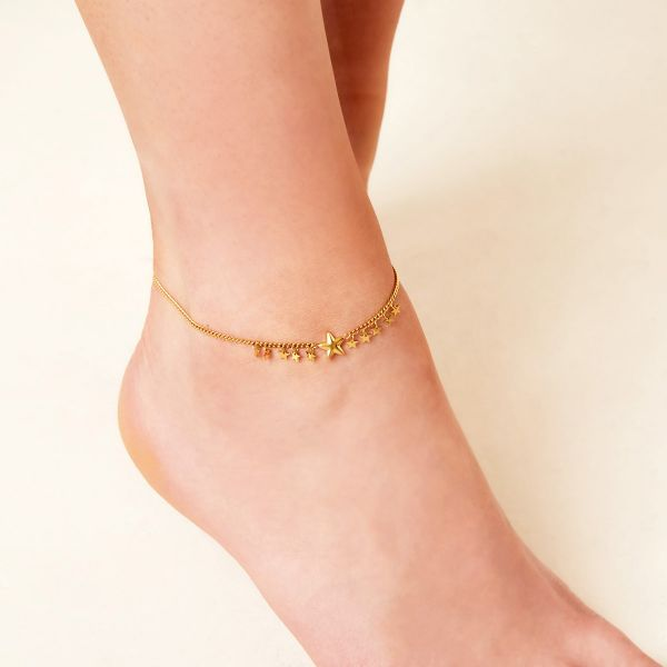 Anklet big and little stars stainless steel