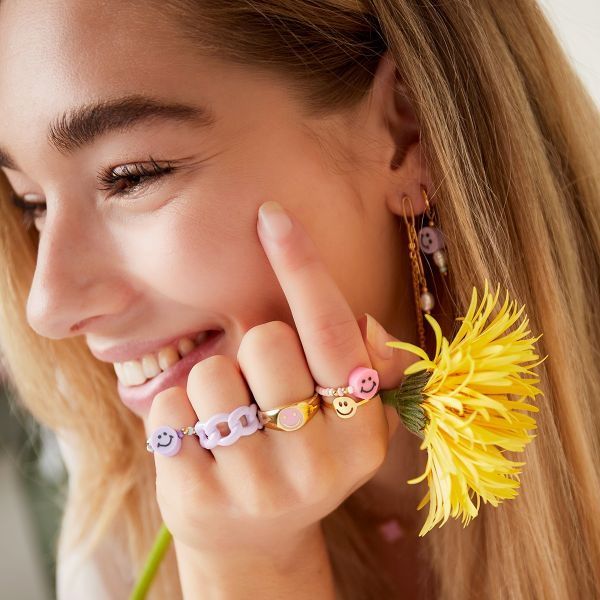 Beaded Smiley Ring
