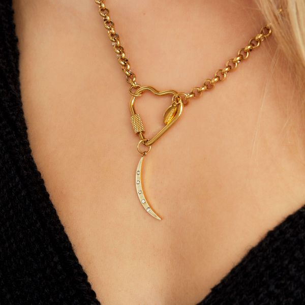 Stainless steel crescent moon charm