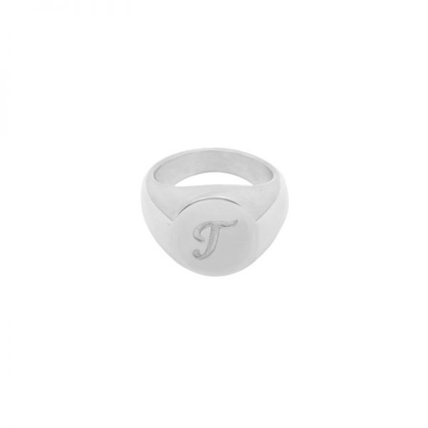 Ring Initial T Signet Ring #17