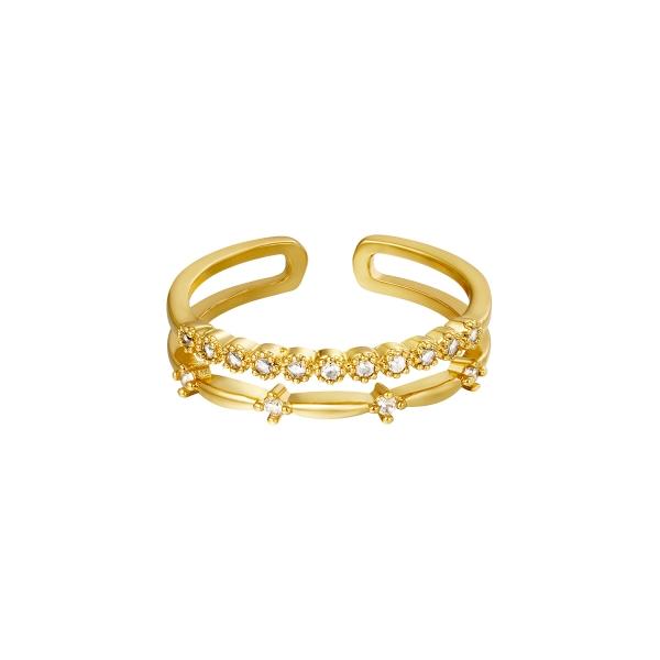 Adjustable double ring with zircon stones