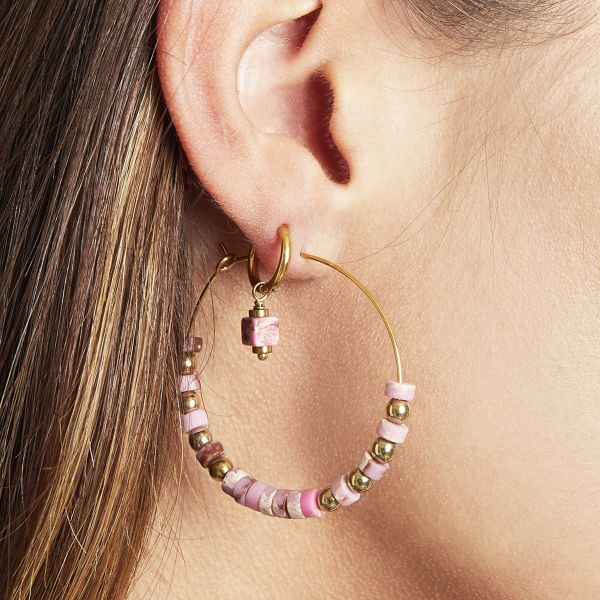 Earrings beaded hoops gold