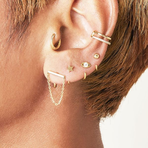 Pendientes Huggies Chained Bar