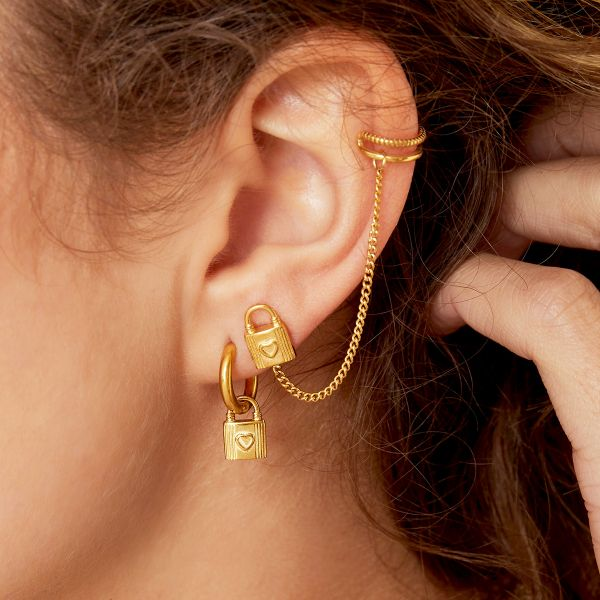 Lock-shaped ear stud with earcuff