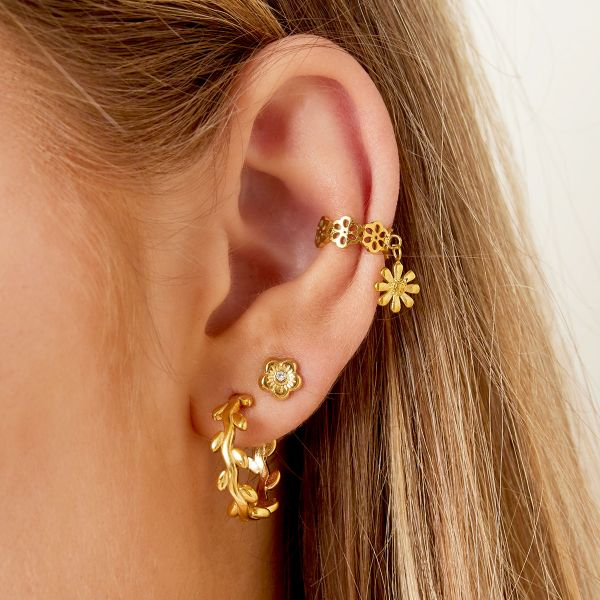 Stainless steel ear cuff with flower charm and little shiny stones