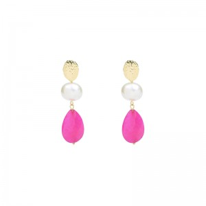Earrings Pearl & Color Stone