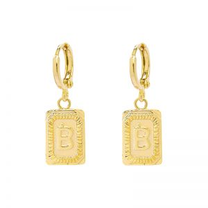 Earrings Antique Initial B