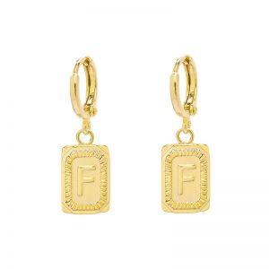 Earrings Antique Initial F
