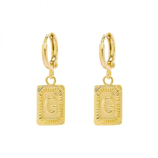 Antique Earrings Initial G