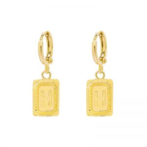 Earrings antique initial h