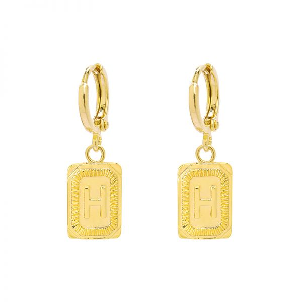 Antique Earrings Initial H
