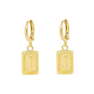 Earrings Antique Initial J