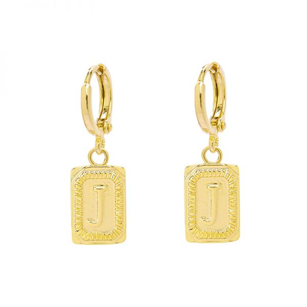 Antique Earrings Initial J