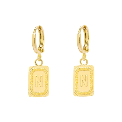 Earrings Antique Initial N