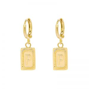 Earrings Antique Initial P